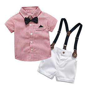 Kids Toddler Boys' Basic Striped Short Sleeve Clothing Set Blushing Pink Fabric:Cotton; Sleeve Length:Short Sleeve; Gender:Boys'; Style:Basic; Kids Apparel:Clothing Set; Age Group:Toddler,Kids; Pattern:Striped; Front page:FF; Listing Date:06/03/2020; Bust:; Length [Bottom]:; Length [Top]: