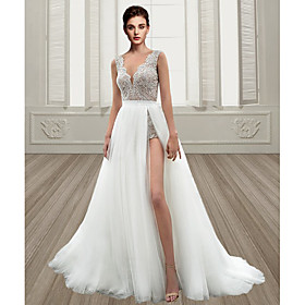 A-Line Wedding Dresses V Neck Sweep / Brush Train Lace Tulle Sleeveless Beach Sexy Backless with Embroidery Split Front 2020