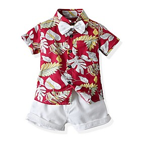 Kids Boys' Basic Print Short Sleeve Clothing Set Red Fabric:Cotton; Sleeve Length:Short Sleeve; Gender:Boys'; Style:Basic; Kids Apparel:Clothing Set; Age Group:Kids; Pattern:Print; Front page:FF; Listing Date:06/03/2020; Bust:; Length [Bottom]:; Length [Top]: