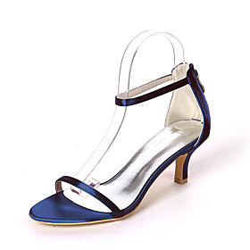 Women's Wedding Shoes Spring / Summer Kitten Heel Open Toe Minimalism Wedding Party  Evening Solid Colored Satin White / Black / Purple