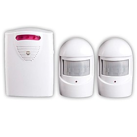 One for Two Infrared Wireless Driveway Alert Alarm Kit Safety LED Doorbell Sensor Lane DIY Doorbell Alarm Voice Prompt
