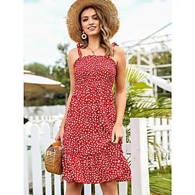 Women's A-Line Dress Knee Length Dress - Sleeveless Geometric Ruched Summer Boat Neck Boho Slim 2020 Red S M L XL