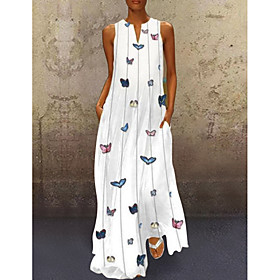 Women's A-Line Dress Maxi long Dress - Sleeveless Butterfly Animal Print Summer V Neck Casual Hot Holiday Beach vacation dresses 2020 White Yellow Blushing Pin