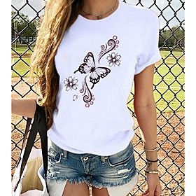 Women's T-shirt Butterfly Graphic Prints Printing Round Neck Tops Loose 100% Cotton Basic Top White
