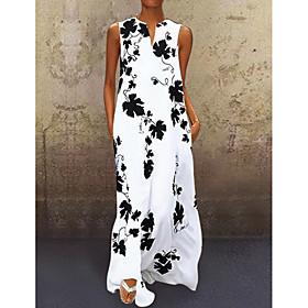 Women's A-Line Dress Maxi long Dress - Sleeveless Floral Summer V Neck Casual 2020 White Black Red S M L XL XXL 3XL 4XL 5XL