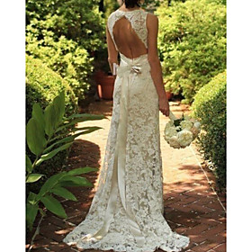 A-Line Wedding Dresses V Neck Sweep / Brush Train Lace Sleeveless Sexy See-Through with Bow(s) Embroidery 2020