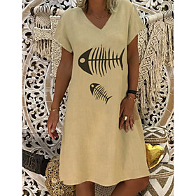 Women's A-Line Dress Knee Length Dress - Short Sleeve Animal Summer V Neck Work 2020 Blue Yellow Fuchsia Beige S M L XL XXL 3XL