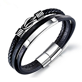 Men's Chain Bracelet Classic Flower Fashion Leather Bracelet Jewelry Silver For Anniversary Festival / Titanium Steel