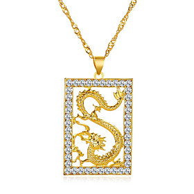 Men's Pendant Necklace Necklace Classic Dragon Classic Trendy Fashion Chrome Imitation Diamond Gold 51 cm Necklace Jewelry 1pc For Anniversary Party Evening St