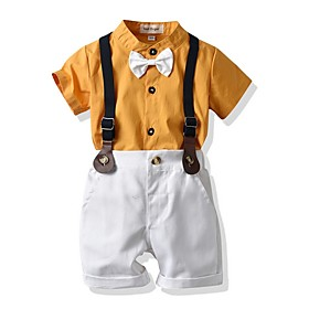 Kids Boys' Basic Print Short Sleeve Clothing Set Yellow Fabric:Cotton; Sleeve Length:Short Sleeve; Gender:Boys'; Style:Basic; Kids Apparel:Clothing Set; Age Group:Kids; Pattern:Print; Front page:FF; Listing Date:06/02/2020; Bust:; Length [Bottom]:; Length [Top]: