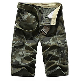 Men's Basic Daily Loose Shorts Tactical Cargo Pants Camouflage Sporty Summer Army Green Khaki 31 32 33
