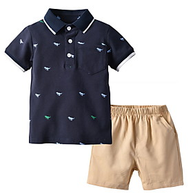 Kids Boys' Basic Print Short Sleeve Clothing Set White Fabric:Cotton; Sleeve Length:Short Sleeve; Gender:Boys'; Style:Basic; Kids Apparel:Clothing Set; Age Group:Kids; Pattern:Print; Front page:FF; Listing Date:06/01/2020; Bust:; Length [Bottom]:; Length [Top]: