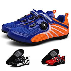 Adults' Bike Shoes Breathable Anti-Slip Mountain Bike MTB Road Cycling Cycling / Bike Red and White BlueOrange Black / White Men's Women's Cycling Shoes