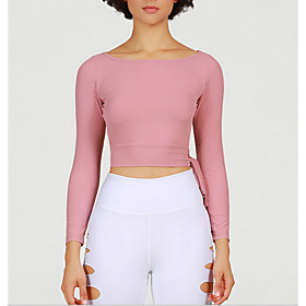 Women's T-shirt Solid Colored Long Sleeve Round Neck Tops Slim Basic Top Blushing Pink
