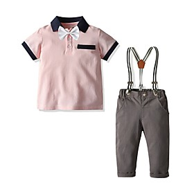 Kids Boys' Basic Solid Colored Short Sleeve Clothing Set Blushing Pink Fabric:Cotton; Sleeve Length:Short Sleeve; Gender:Boys'; Style:Basic; Kids Apparel:Clothing Set; Age Group:Kids; Pattern:Solid Colored; Front page:FF; Listing Date:06/01/2020; Bust:; Length [Bottom]:; Length [Top]: