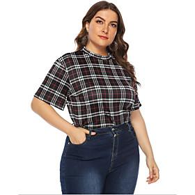 Women's Plus Size T-shirt Check Round Neck Tops Basic Top Black