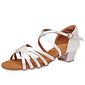 Women's Modern Shoes PU Buckle Heel Thick Heel Dance Shoes White / Black / Khaki Category:Modern Shoes; Upper Materials:PU; Heel Type:Thick Heel; Gender:Women's; Style:Heel; Outsole Materials:Leather; Occasion:Performance; Closure Type:Buckle; Listing Date:06/05/2020; Foot Length:; Size chart date source:Provided by Supplier.