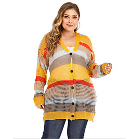 Women's Striped Color Block Cardigan Long Sleeve Plus Size Loose Oversized Sweater Cardigans V Neck Yellow