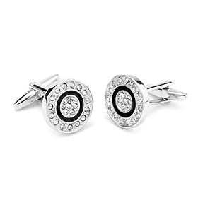 Men's Cufflinks Fashion Imitation Diamond Brooch Jewelry Silver For Daily Wear