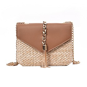 Women's Bags PU Leather Crossbody Bag Color Block for Daily Khaki / Green