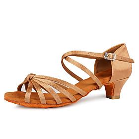 Women's Latin Shoes / Salsa Shoes Satin Buckle Heel Buckle Thick Heel Customizable Dance Shoes Leopard / White / Black