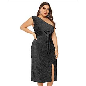 Women's A-Line Dress Midi Dress - Sleeveless Solid Color Summer Off Shoulder Plus Size Casual Sexy 2020 Black Blue Silver L XL XXL 3XL 4XL