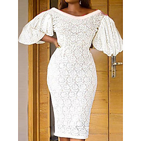 Women's A-Line Dress Knee Length Dress - Short Sleeve Solid Color Summer V Neck Casual Chinoiserie 2020 White S M L XL