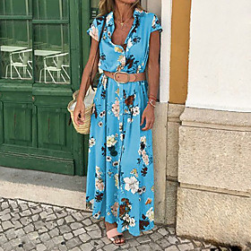 Women's Sheath Dress Maxi long Dress - Sleeveless Floral Print Print Button Front Spring  Summer Deep V Casual Holiday Cotton Slim Boho / Beach Blue Purple Yel