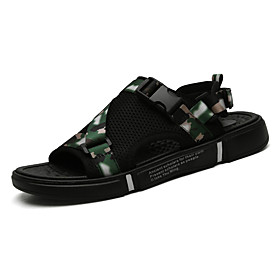 Men's Summer Classic / Casual Outdoor Beach Sandals Walking Shoes Microfiber Breathable Non-slipping Black / Rainbow / Gray Camouflage