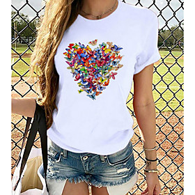 Women's T-shirt Heart Graphic Prints Round Neck Tops Loose 100% Cotton Basic Top White