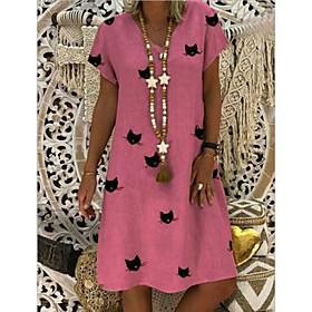 Women's A-Line Dress Knee Length Dress - Short Sleeve Animal Summer V Neck Casual Mumu 2020 Yellow Blushing Pink Khaki Green Light Blue S M L XL XXL 3XL 4XL 5X