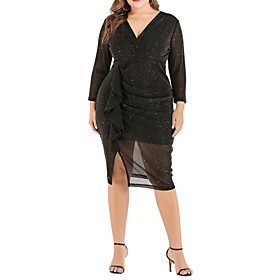 Women's A-Line Dress Knee Length Dress - Long Sleeve Solid Color Summer V Neck Plus Size Casual Sexy 2020 Black XL XXL 3XL 4XL 5XL