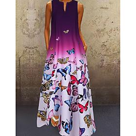 Women's A-Line Dress Maxi long Dress - Sleeveless Butterfly Color Gradient Print Summer V Neck Plus Size Casual 2020 Blue Purple Red S M L XL XXL 3XL 4XL 5XL