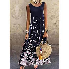 Women's A-Line Dress Maxi long Dress - Sleeveless Floral Print Summer Casual Hot 2020 Navy Blue XXL 3XL