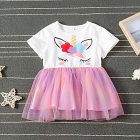 Kids Girls' Active Cute Unicorn Animal Mesh Short Sleeve Knee-length Dress Rainbow