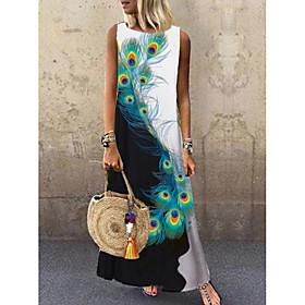 Women's A-Line Dress Maxi long Dress - Sleeveless Peacock Animal Print Summer Casual 2020 Black M L XL XXL 3XL
