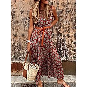 Women's A-Line Dress Maxi long Dress - Sleeveless Floral Summer V Neck Casual 2020 Red Orange Gray S M L XL XXL