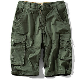 Men's Basic Daily Loose Shorts Tactical Cargo Pants Camouflage Solid Colored Sporty Summer Army Green Khaki 34 36 38