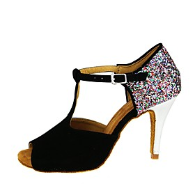 Women's Dance Shoes Latin Shoes / Ballroom Shoes / Line Dance Heel Cuban Heel Black / Performance