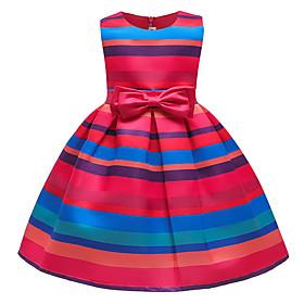 Kids Girls' Active Sweet Striped Rainbow Bow Sleeveless Midi Dress Rainbow