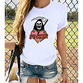 Women's Halloween T-shirt Graphic Prints Round Neck Tops Loose 100% Cotton Halloween Basic Top White
