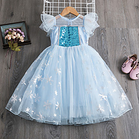 Kids Girls' Active Cute Solid Colored Sequins Pleated Sleeveless Maxi Dress Light Blue