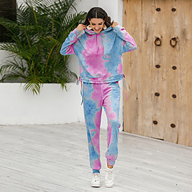 Women's Two Piece Set Basic Ruched Drawstring Set Tops Pant Set Tie Dye Hooded