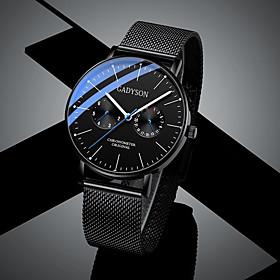 Men's Sport Watch Quartz Casual Altimeter Analog White Black Blushing Pink / Chronograph / Luminous / Noctilucent / Large Dial