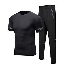 Men's 2-Piece Activewear Set Short Sleeve 2pcs Spandex Reflective Breathable Quick Dry Fitness Gym Workout Running Active Training Walking Sportswear Athletic