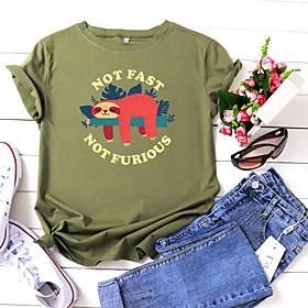 Women's T-shirt Animal Letter Print Round Neck Tops 100% Cotton Basic Basic Top White Black Yellow