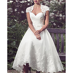 A-Line Wedding Dresses Sweetheart Neckline Knee Length Lace Tulle Sleeveless Vintage 1950s with Appliques 2020