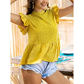 Women's Blouse Shirt Solid Colored Ruffle Round Neck Tops Basic Top Yellow
