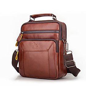 Men's Bags Nappa Leather Sling Shoulder Bag Zipper for Office  Career Black / Brown