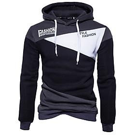 Men's Hoodie Color Block Hooded Basic Hoodies Sweatshirts  Black Blue Light gray
